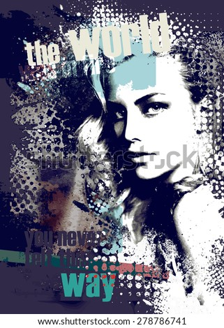 Decorative composition with a beautiful blonde girl  - stock vector