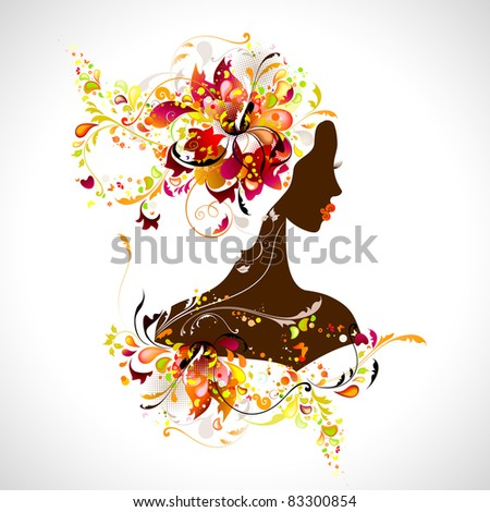 decorative composition with girl - stock vector