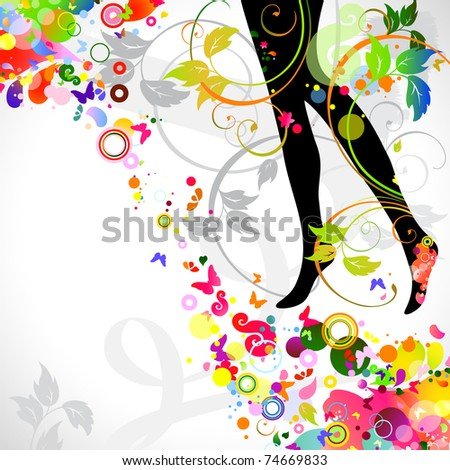 decorative composition with girl`s legs - stock vector