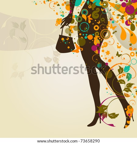decorative composition with girl`s legs and bag - stock vector