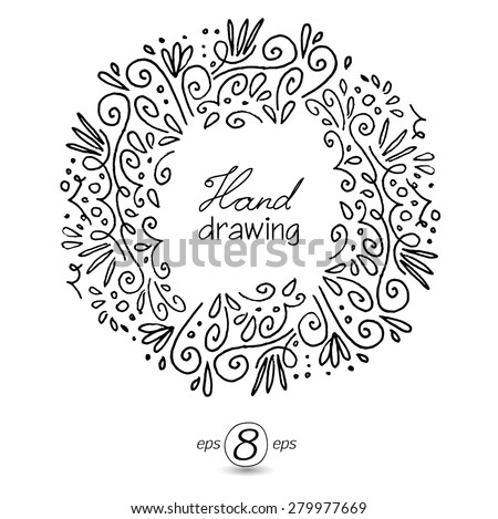 Decorative contour frame, hand drawing.White outline on black background. Swirls and curls. - stock vector