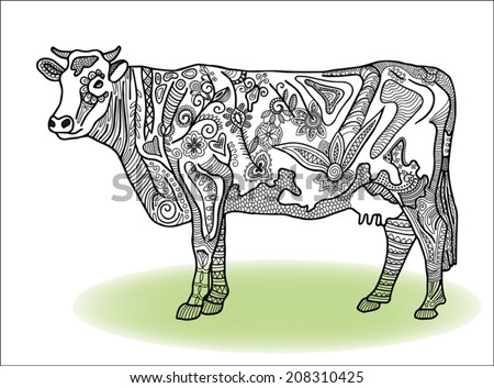 Decorative cow, detailed lace pattern, ethnic floral and geometric ornament, vector illustration black and white - stock vector