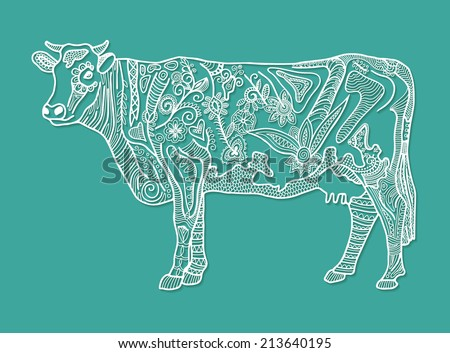 Decorative cow, detailed lace pattern, ethnic floral and geometric ornament, vector illustration - stock vector