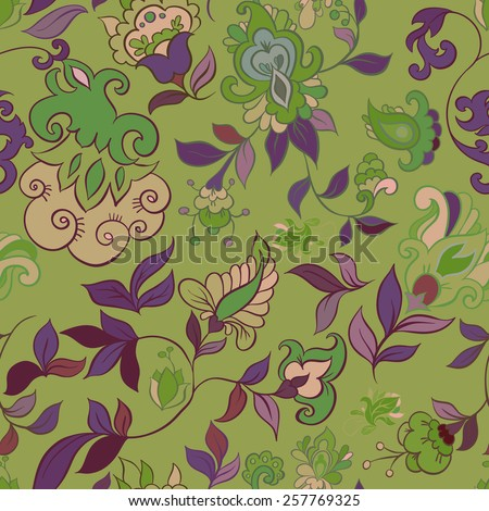 Decorative creative floral boho seamless pattern - stock vector