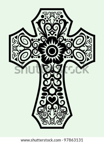 Decorative cross ornament ink black and white drawing symbol - stock vector