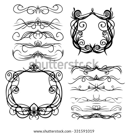 Decorative curls and swirls. Designers collection. Hand drawn illustration.  - stock vector
