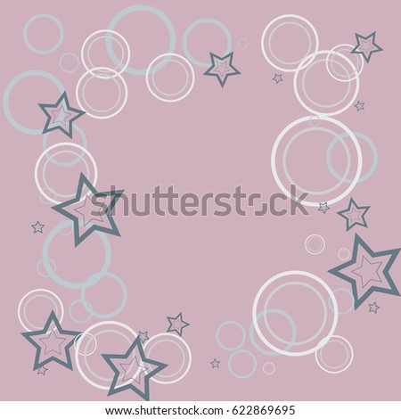 Decorative curve pattern.Cosmic abstract vector background with stars confetti elements.