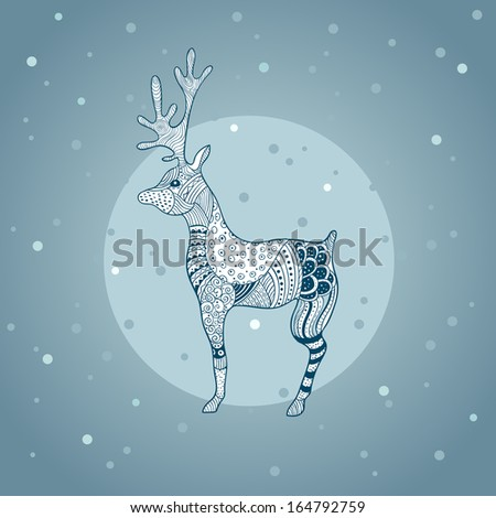 Decorative deer image formed in graphic style