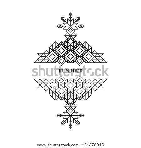 Decorative Design Element in Retro Style. Vector Calligraphic Template. Line Art. - stock vector