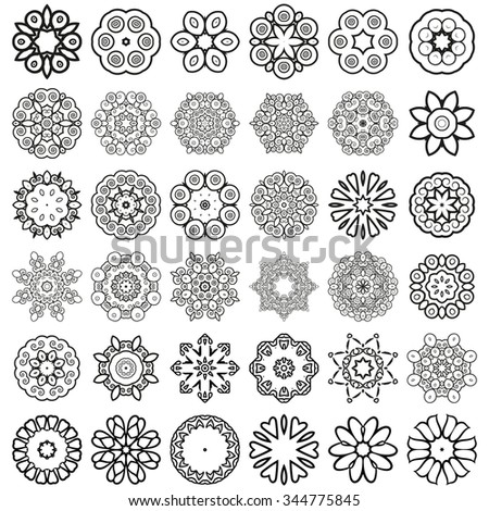 Decorative design elements. Circle ornament. Set of 36 vector circular patterns, florets, snowflakes, asterisks for decoration of your works. - stock vector