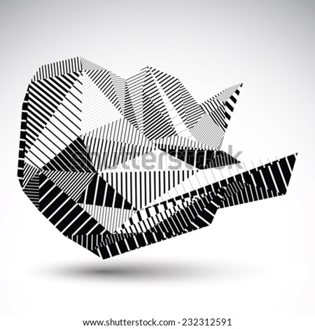 Decorative distorted unusual eps8 figure with parallel black lines. Striped multifaceted asymmetric contrast element, monochrome technology illustration. - stock vector