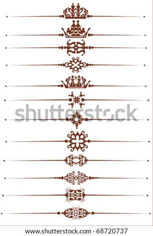 Decorative Dividers. Vector set. Ornamental Rule lines. Calligraphy. Vintage - stock vector