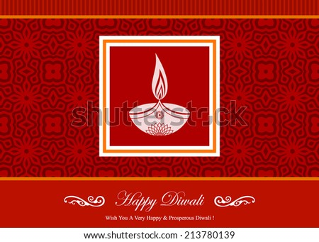 Decorative Diwali Greeting Card - stock vector