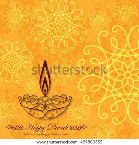 Decorative Diwali Greeting on Grunge Background