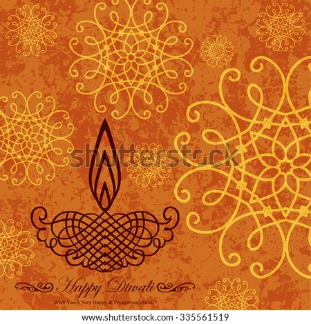 Decorative Diwali Greeting on Grunge Decorative Design