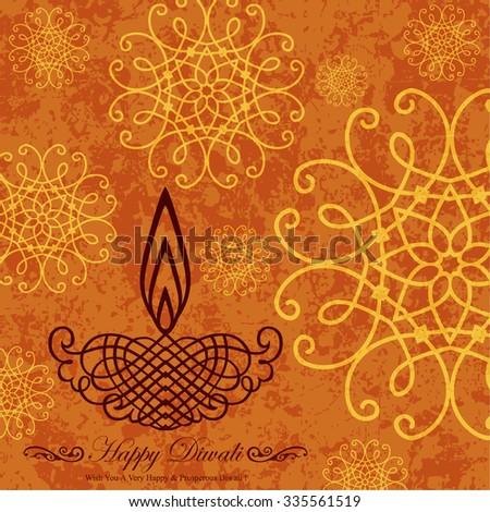 Decorative Diwali Greeting on Grunge Decorative Design - stock vector