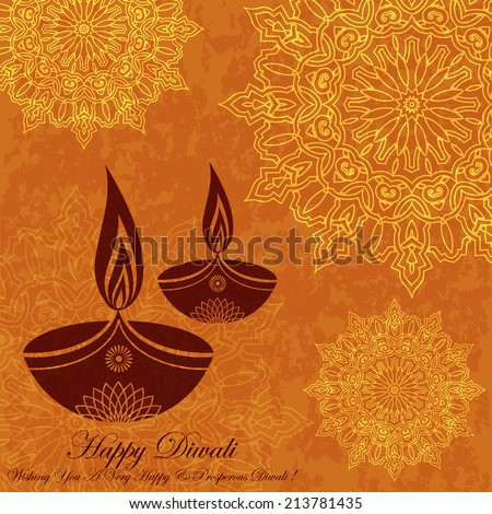 Decorative Diwali Greeting on Grunge Floral Design - stock vector
