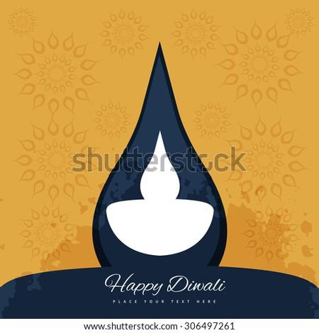 Decorative Diwali Lamp Colorful Background Illustration - stock vector