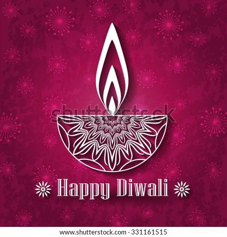Decorative Diwali Lamp Design on Vintage Background - stock vector