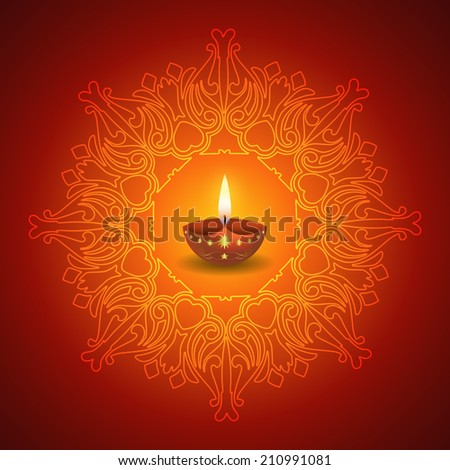 Decorative Diwali Lamp on Mandala Background - stock vector