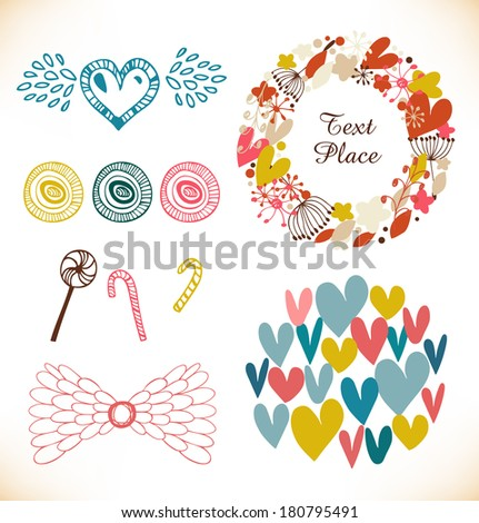 Decorative doodle collection with many cute elements. Hearts, flowers, angel wings, lollipops, sugarplums. Vector holiday set