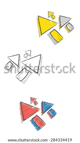 Decorative doodle icons with arrows  - stock vector
