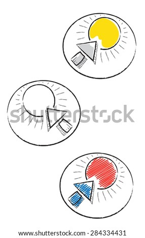 Decorative doodle icons with sun and arrow  - stock vector