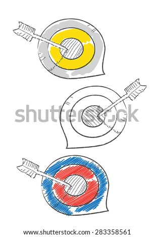 Decorative doodle target icons - stock vector