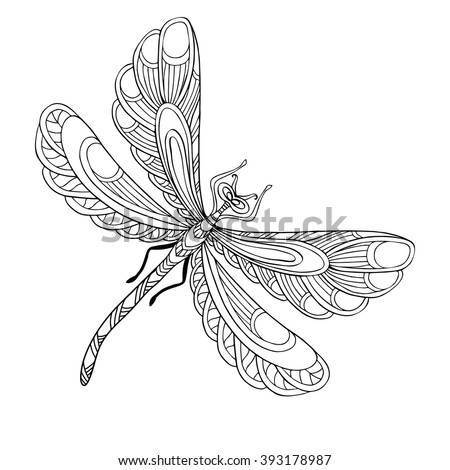 Decorative Dragonfly Coloring Book For Adult And Older Children Page With Colored Sample