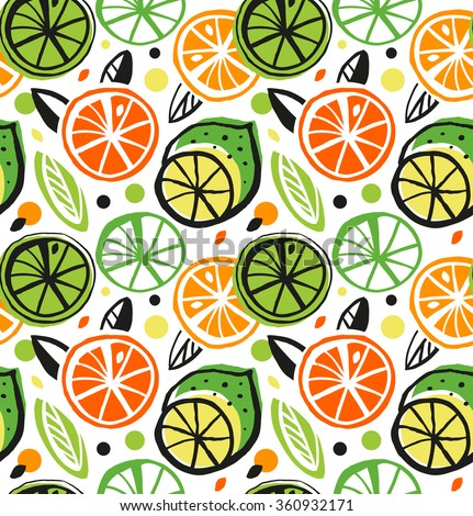 Decorative drawing seamless pattern with citrus fruits. Colorful tropical background - stock vector