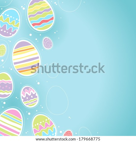 Decorative Easter eggs background - blue color. Good for postcard design. - stock vector