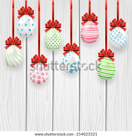 Decorative Easter eggs with red bow on wooden background, illustration. - stock vector