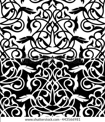 Decorative element eastern pattern.Damask ornament.Seamless white and black design.Oriental  endless monochrome tracery. - stock vector