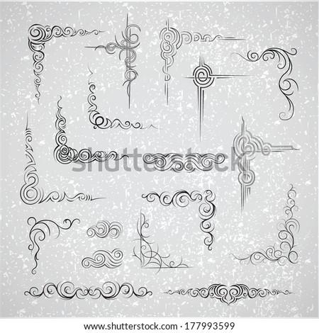 Decorative elements. Frames. Vector set - stock vector