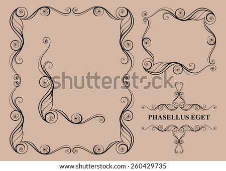 Decorative elements. Frames. Vector set
