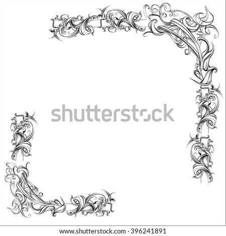 decorative elements in vintage style for decoration layout, framing, for advertising, vector illustration hands - stock vector