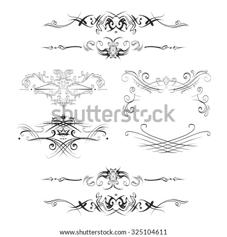 decorative elements in vintage style for decoration layout, framing, for tektsta for advertising, vector illustration hands, set - stock vector