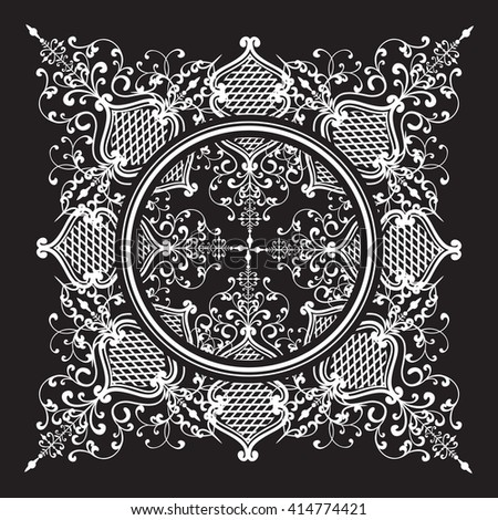 Decorative elements of the vector black and white pattern lace mandala on a black background - stock vector