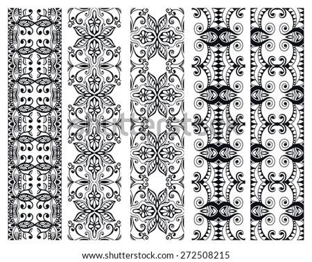 Decorative elements set, black lace border pattern for invitation card design, vector collection - stock vector