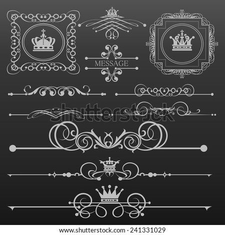 Decorative elements. Set of calligraphic vintage frames for design. Vector image. Retro illustration. - stock vector