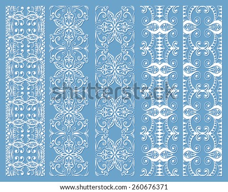 Decorative elements set, white lace border pattern for invitation card design, vector collection - stock vector