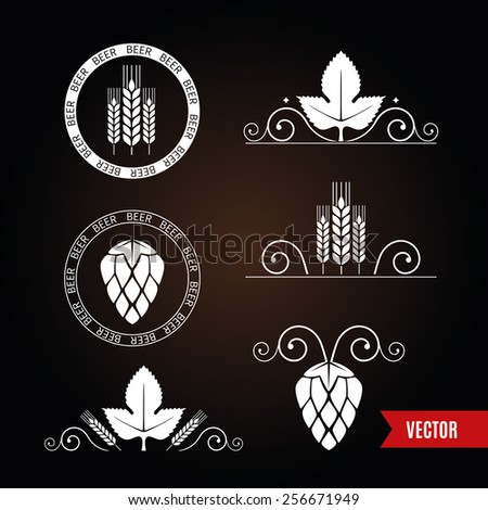 Decorative elements with barley or wheat ears and hop cones for beer label design. Dark design of borders and stamps. Vector. - stock vector