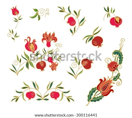 Decorative elements  with pomegranates - vector - stock vector