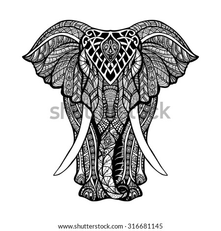 Decorative elephant front view with stylized ornament hand drawn vector illustration - stock vector