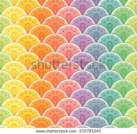 Decorative fan rainbow seamless pattern - stock vector
