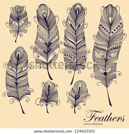 Decorative Feather vector set. Hand-drawn illustration. - stock vector
