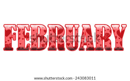 Decorative February - stock vector