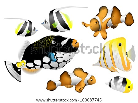 decorative fishes (vector sea drawing)
