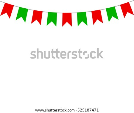 Decorative flags on greeting card template for a happy Christmas