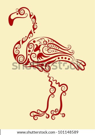Decorative flamingo. animal and floral ornament decoration, for tattoo design - stock vector